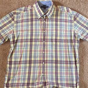 Tommy Hilfiger yellow plaid shirt sleeve shirt.